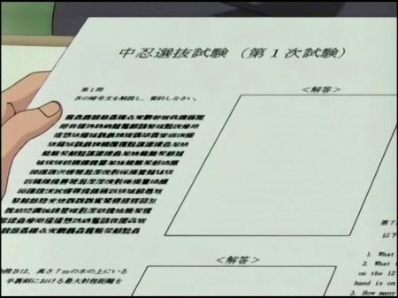 Examen de Naruto sin respuestas