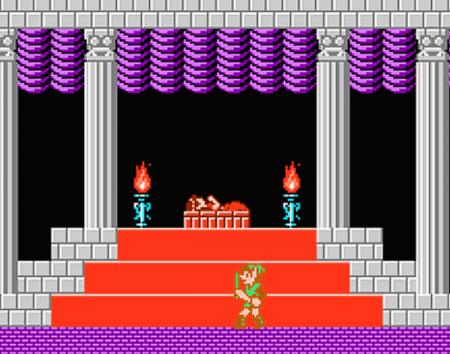 Link al lado de la dormilona de Zelda