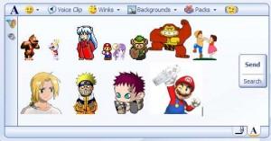 Messenger con personajes alegres de Animes y Videojuegos