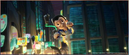 Astroboy volando en su nueva película