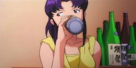 Misato y sus problemas con el alcohol