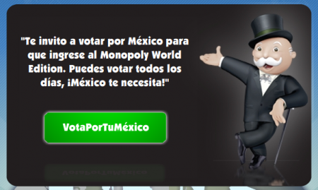 Vota por México para que ingrese al Monopoly World Edition