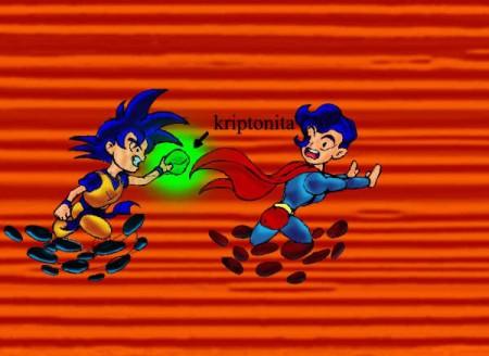 Goku corretea a Superman con Kryptonita