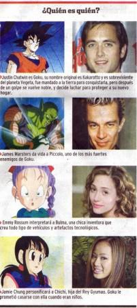 Personajes de Dragon Ball y los actores para la película