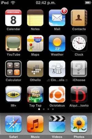 Muestra de iconos en iPhone