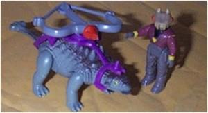 Monito de dino-riders con todo y dinosaurio incluído