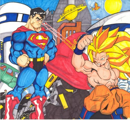 Superman Rayos Caloríficos a Goku
